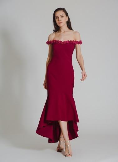 People By Fabrika Yaka Detaylı Abiye Elbise Mor